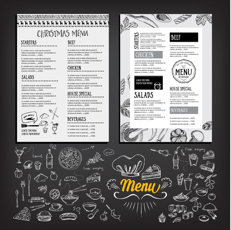 the cook: Christmas party invitation restaurant, menu design. Vector template with graphic. Illustration
