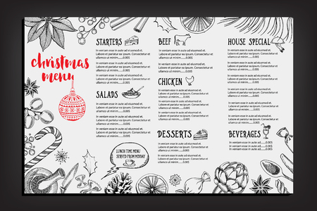 Christmas party invitation restaurant, menu design. Vector template with graphic. Ilustração