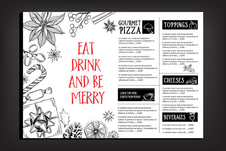 menu icon: Christmas party invitation restaurant, menu design. Vector template with graphic. Illustration