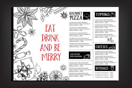 comida de navidad: Restaurante invitación de la fiesta de Navidad, diseño del menú. Modelo del vector con el gráfico.