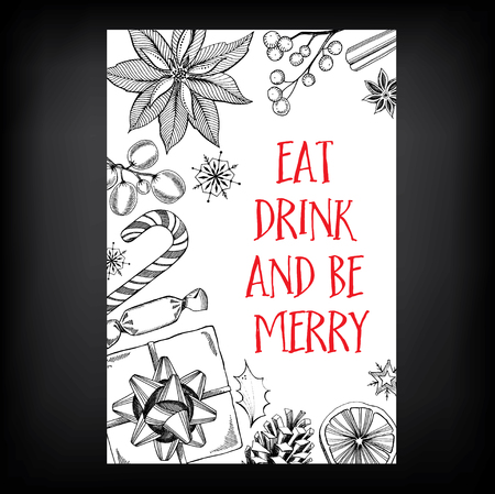 dinner: Christmas party invitation. Holiday card. Vector template with graphic.