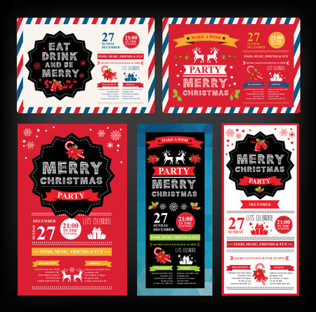 restaurant dining: Christmas party invitation. Holiday card. Vector template with graphic.