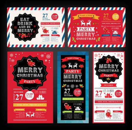 festa: Convite da festa de Natal. Cartão do feriado. Molde do vetor com gráfico.