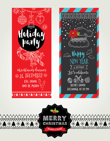 food and drink holiday: Christmas party invitation. Holiday card. Vector template with graphic.