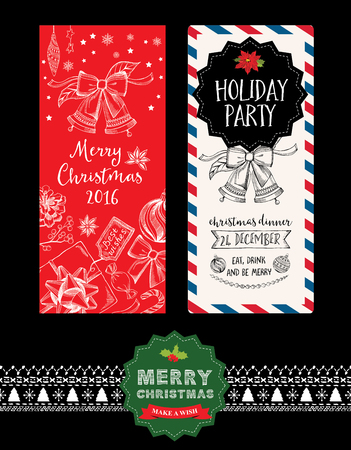 party invitation: Christmas party invitation. Holiday card. Vector template with graphic.
