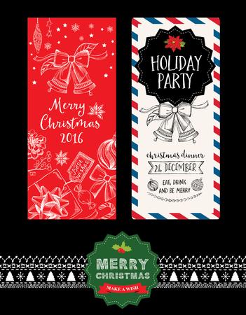 invitacion fiesta: Invitación de la fiesta de Navidad. Tarjeta de vacaciones. Modelo del vector con el gráfico.