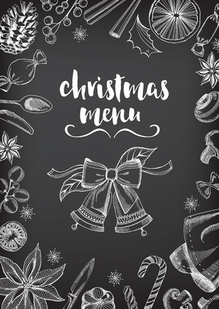 dinner: Christmas party invitation restaurant, menu design. Vector template with graphic. Illustration