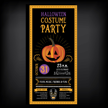 holiday invitation: Halloween party invitation. Holiday card. Vector template with graphic.