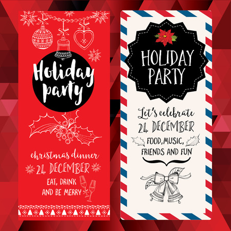 holidays: Vector christmas party invitation with toys. Holiday background and design banner. Vector template with hand-drawn xmas graphic. Illustration