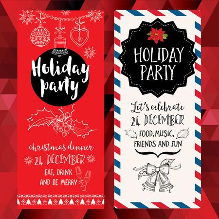 Vector kerst partij uitnodiging met speelgoed. Vakantie achtergrond en design banner. Vector sjabloon met de hand getekende grafische xmas.