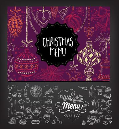 almuerzo: Restaurante folleto Navidad del vector, dise�o del men�. Vector plantilla de fiesta con navidad gr�fico dibujado a mano. Feliz volante invitaci�n A�o Nuevo.