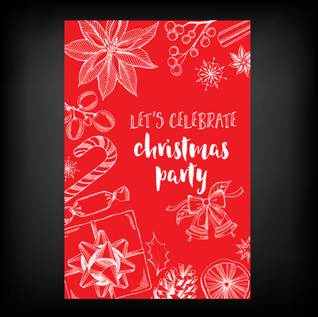 holiday invitation: Vector merry christmas, poster design. Vector holiday template with xmas hand-drawn graphic. Happy New Year invitation flyer. Illustration