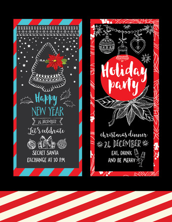 party invite: Vector christmas party invitation with toys. Holiday background and design banner. Vector template with hand-drawn xmas graphic. Illustration