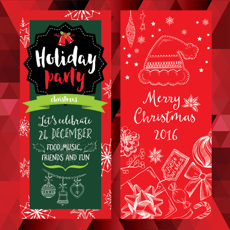 holiday: Vector christmas party invitation with toys. Holiday background and design banner. Vector template with hand-drawn xmas graphic. Illustration