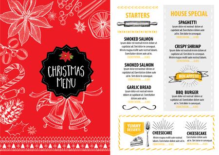 Vector christmas brochure de restaurant, la conception de menu. Vecteur vacances modèle avec noël graphique dessiné à la main. Happy New Year invitation dépliant.