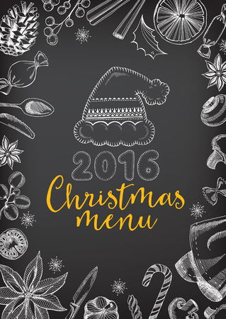 christmas drink: Vector christmas restaurant brochure, menu design. Vector holiday template with xmas handdrawn graphic. Happy New Year invitation flyer. Illustration