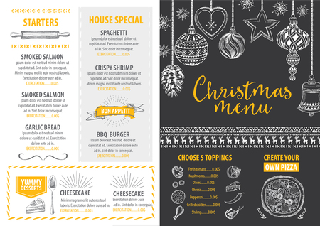 food and drinks: Vector christmas restaurant brochure, menu design. Vector holiday template with xmas handdrawn graphic. Happy New Year invitation flyer. Illustration
