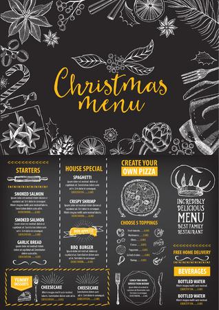 Vector christmas restaurant brochure, menu design. Vector holiday template with xmas handdrawn graphic. Happy New Year invitation flyer. Illustration