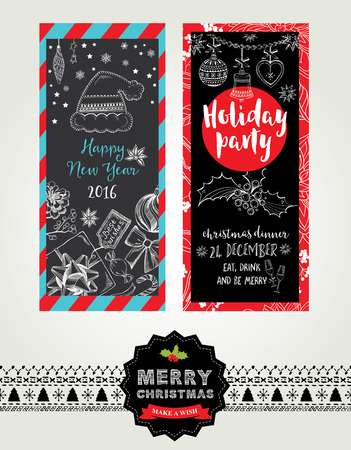 retro christmas: Vector christmas party invitation with toys. Holiday background and design banner. Vector template with handdrawn xmas graphic.