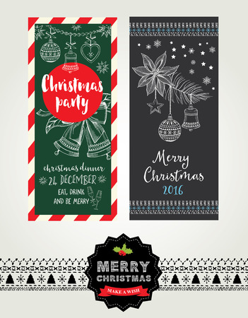 Vector christmas party invitation with toys. Holiday background and design banner. Vector template with handdrawn xmas graphic.