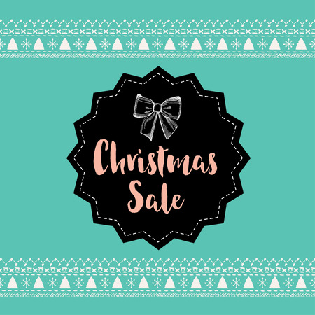offer: Vector christmas sale poster with toys. Holiday background and design banner. Vector banner with hand-drawn xmas graphic.