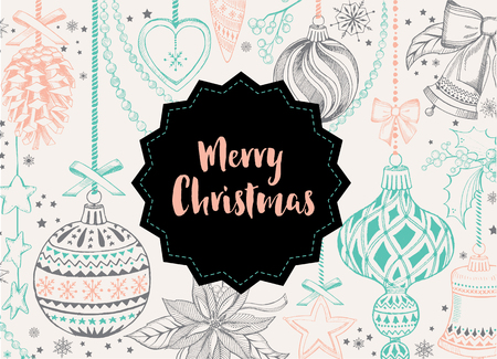 retro christmas: Vector merry christmas, poster design. Vector holiday template with xmas hand-drawn graphic. Happy New Year invitation flyer. Illustration