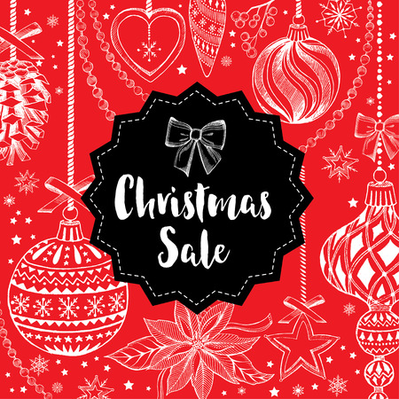 christmas sale: Vector christmas sale poster with toys. Holiday background and design banner. Vector banner with handdrawn xmas graphic. Illustration