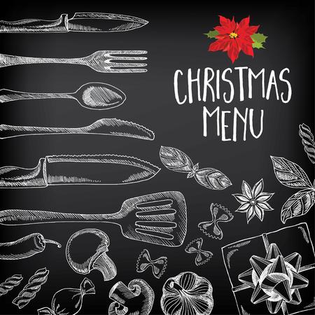 벡터 크리스마스 레스토랑 안내 책자, 메뉴 디자인. 크리스마스 손으로 그린 그래픽 벡터 휴일 템플릿입니다. 새해 복 많이 받으세요 초대 전단지.