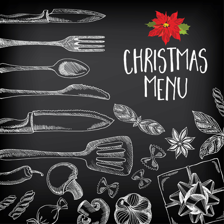 dinner party: Vector christmas restaurant brochure, menu design. Vector holiday template with xmas hand-drawn graphic. Happy New Year invitation flyer. Illustration