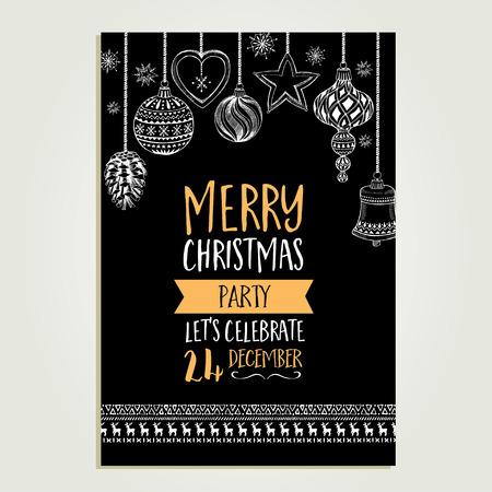 Fiesta: Navidad del vector invitaci�n de la fiesta con los juguetes. Vacaciones de fondo y la bandera de dise�o. Modelo del vector con el gr�fico de Navidad dibujado a mano.