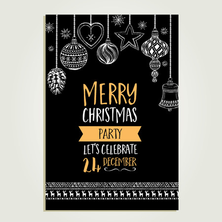 xmas: Vector christmas party invitation with toys. Holiday background and design banner. Vector template with hand-drawn xmas graphic. Illustration