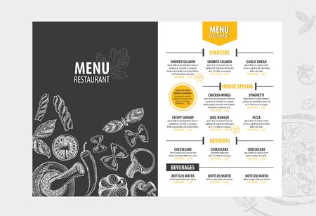 ベクトル レストラン パンフレット、メニュー デザイン。手描きのグラフィックを持つベクトル カフェ テンプレート。食品チラシ。