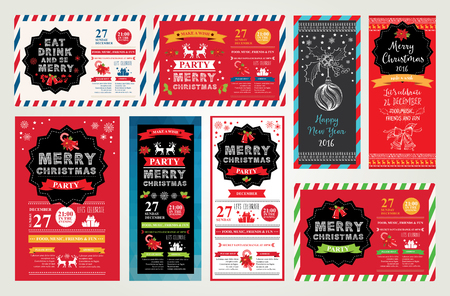 hipster: Vector christmas party invitation with toys. Holiday background and design banner. Vector template with hand-drawn xmas graphic. Illustration