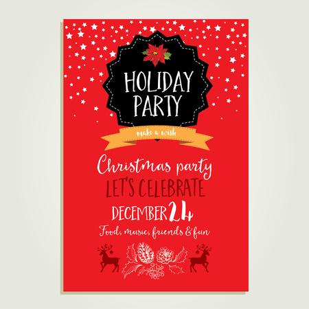 おもちゃでのベクトル クリスマス パーティーの招待状。休日の背景やデザインのバナーです。手描きクリスマス グラフィック ベクトル テンプレー