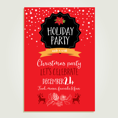 vintage invitation: Vector christmas party invitation with toys. Holiday background and design banner. Vector template with hand-drawn xmas graphic. Illustration