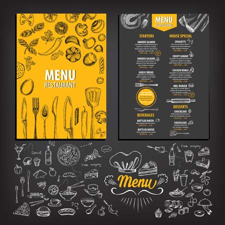 blackboard background: Vector restaurant brochure, menu design. Vector cafe template with hand-drawn graphic. Food flyer. Illustration