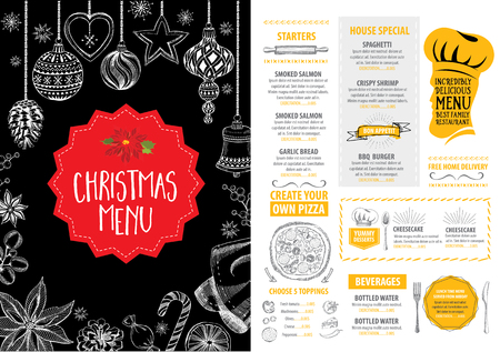 menu icon: Vector christmas restaurant brochure, menu design. Vector holiday template with xmas hand-drawn graphic. Happy New Year invitation flyer. Illustration