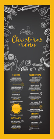 food menu: Vector christmas restaurant brochure, menu design. Vector holiday template with xmas hand-drawn graphic. Happy New Year invitation flyer. Illustration
