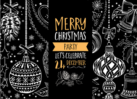 dinner: Vector christmas party invitation with toys. Holiday background and design banner. Vector template with hand-drawn xmas graphic. Illustration