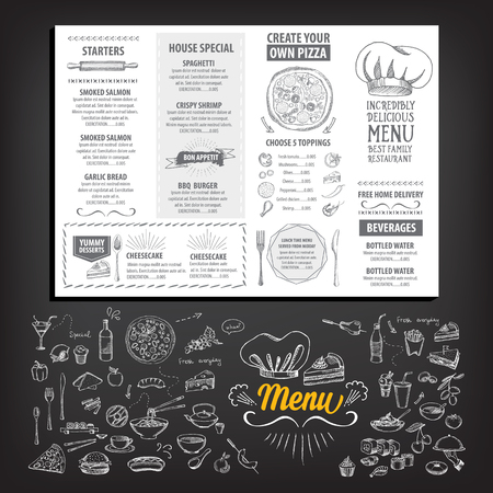 restaurant bar: Vector restaurant brochure, menu design. Vector cafe template with hand-drawn graphic. Food flyer. Illustration