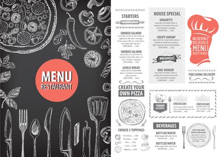 Vector restaurant brochure, menu ontwerp. Vector cafe template met de hand getekende grafische. Eten flyer. Vector Illustratie