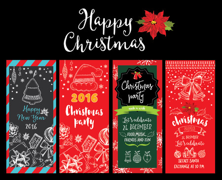 xmas parties: Vector christmas party invitation with toys. Holiday background and design banner. Vector template with hand-drawn xmas graphic. Illustration