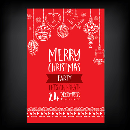 Vector christmas party invitation with toys. Holiday background and design banner. Vector template with hand-drawn xmas graphic. Vettoriali