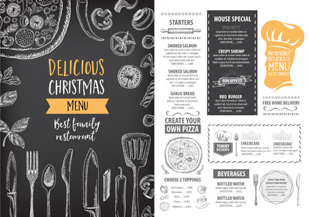 dinner party people: Vector christmas restaurant brochure, menu design. Vector holiday template with xmas hand-drawn graphic. Happy New Year invitation flyer. Illustration