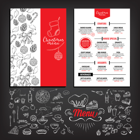christmas dinner party: Vector christmas restaurant brochure, menu design. Vector holiday template with xmas hand-drawn graphic. Happy New Year invitation flyer. Illustration