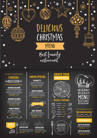 restaurants: Vector christmas restaurant brochure, menu design. Vector holiday template with xmas hand-drawn graphic. Happy New Year invitation flyer. Illustration