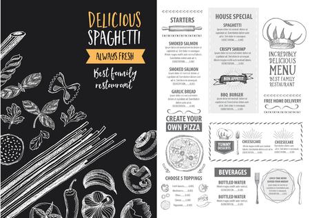 Vector restaurant brochure, menu design. Vector cafe template with hand-drawn graphic. Food flyer. Illustration