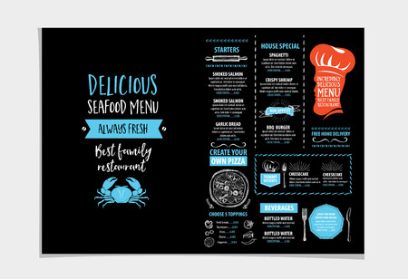 the cook: Vector restaurant brochure, menu design. Vector cafe template with hand-drawn graphic. Food flyer. Illustration