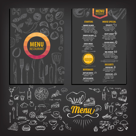 Vector restaurant brochure, menu design. Vector cafe template with hand-drawn graphic. Food flyer. Ilustracja