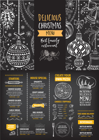 christmas dinner party: Vector restaurant brochure, menu design. Vector cafe template with hand-drawn graphic. Food flyer. Illustration